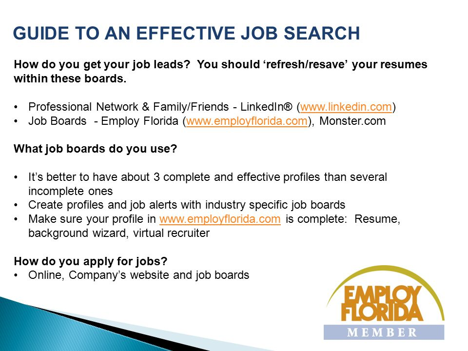 GUIDE TO AN EFFECTIVE JOB SEARCH