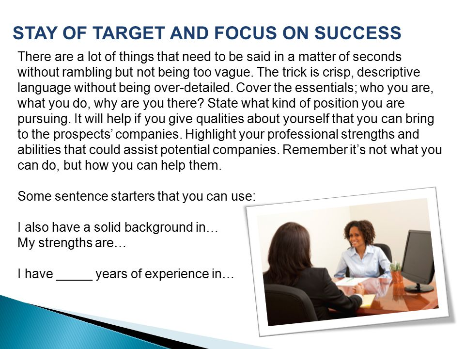 STAY OF TARGET AND FOCUS ON SUCCESS