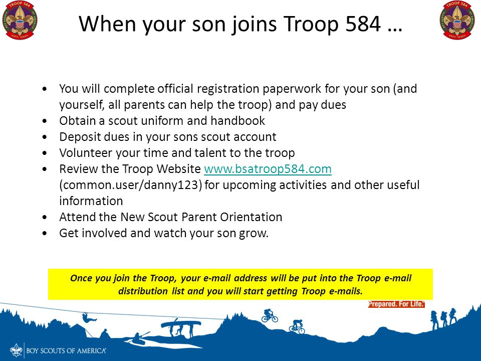 When your son joins Troop 584 …