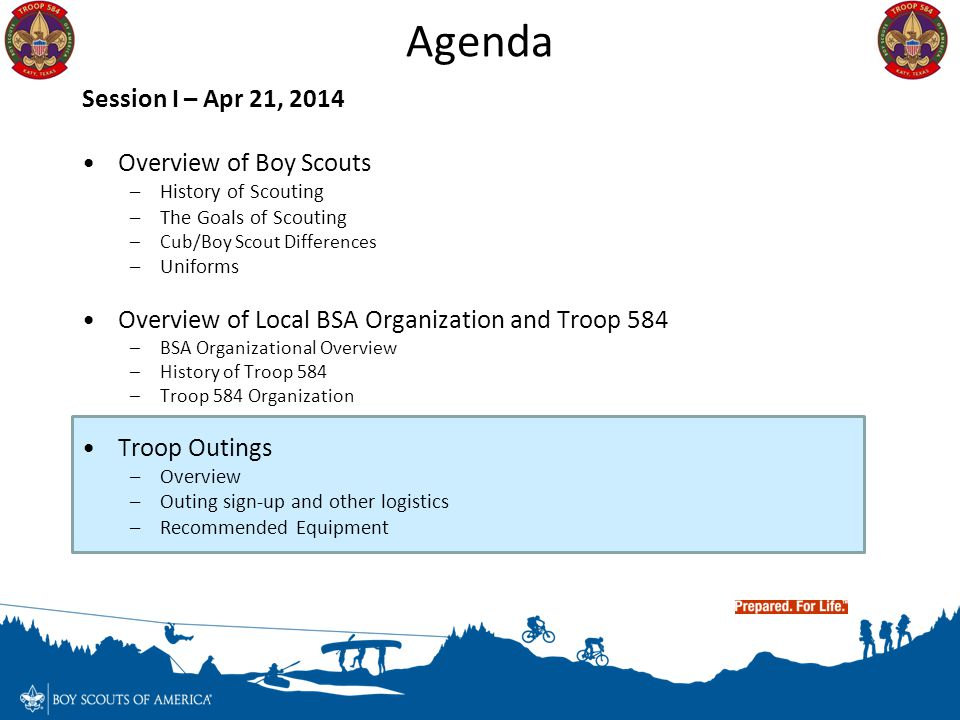 Agenda Session I – Apr 21, 2014 Overview of Boy Scouts