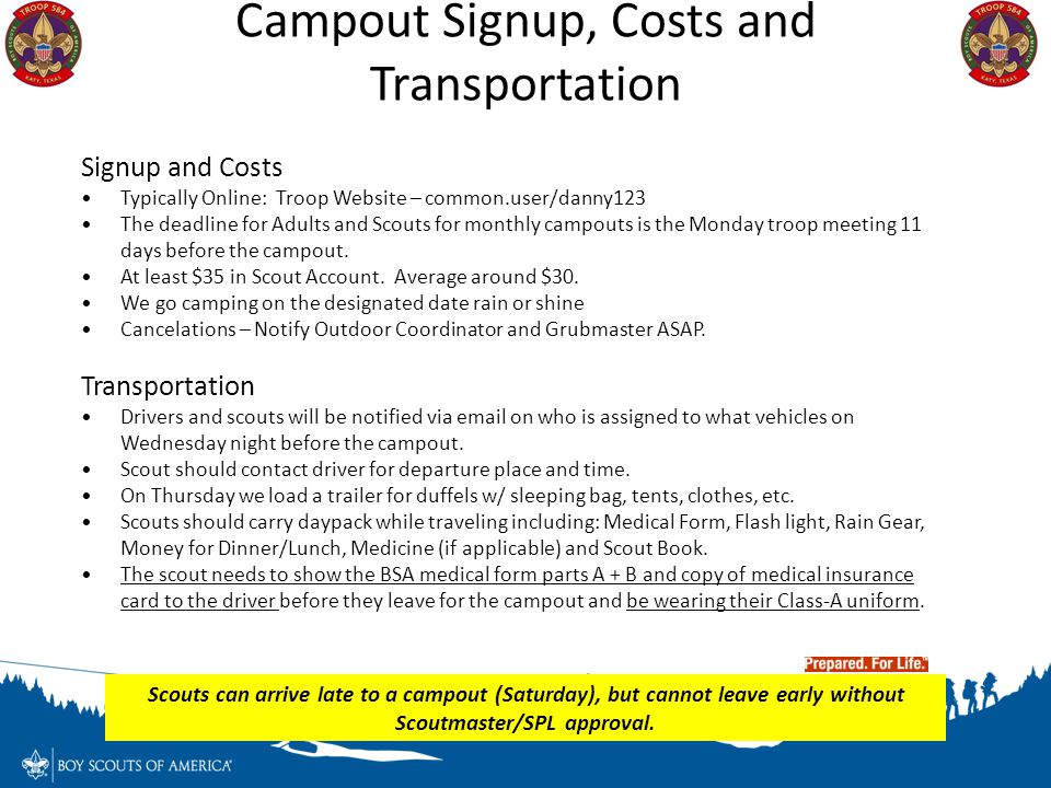 Campout Signup, Costs and Transportation