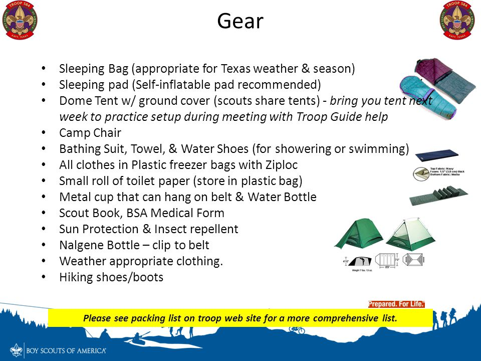 Gear Sleeping Bag (appropriate for Texas weather & season)