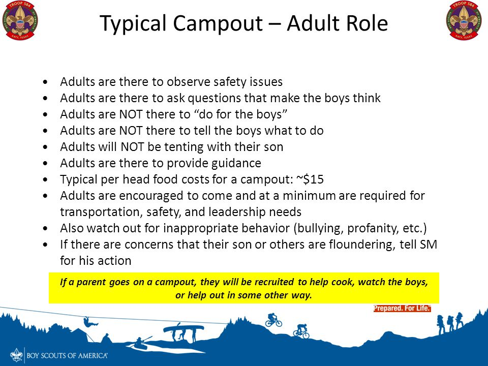 Typical Campout – Adult Role