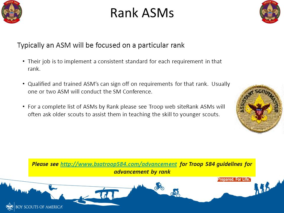Rank ASMs Typically an ASM will be focused on a particular rank