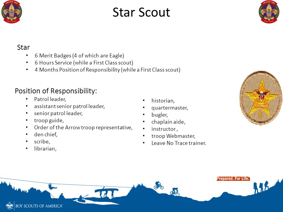 Star Scout Star Position of Responsibility: