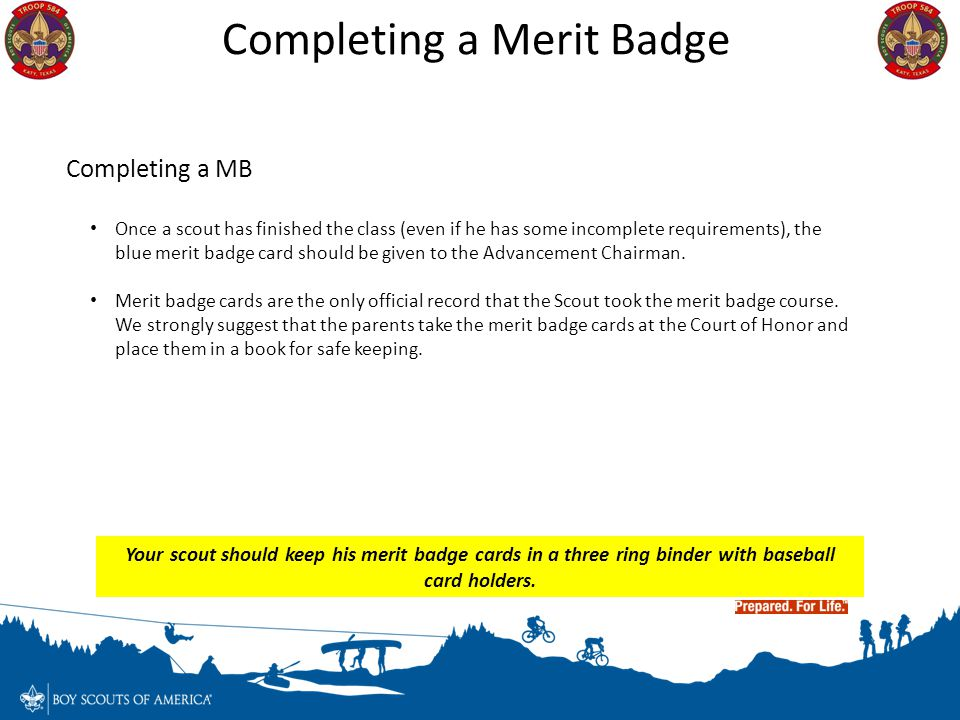 Completing a Merit Badge