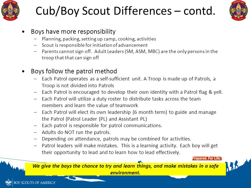 Cub/Boy Scout Differences – contd.