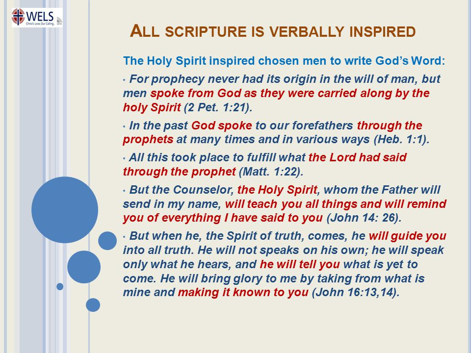 All scripture is verbally inspired