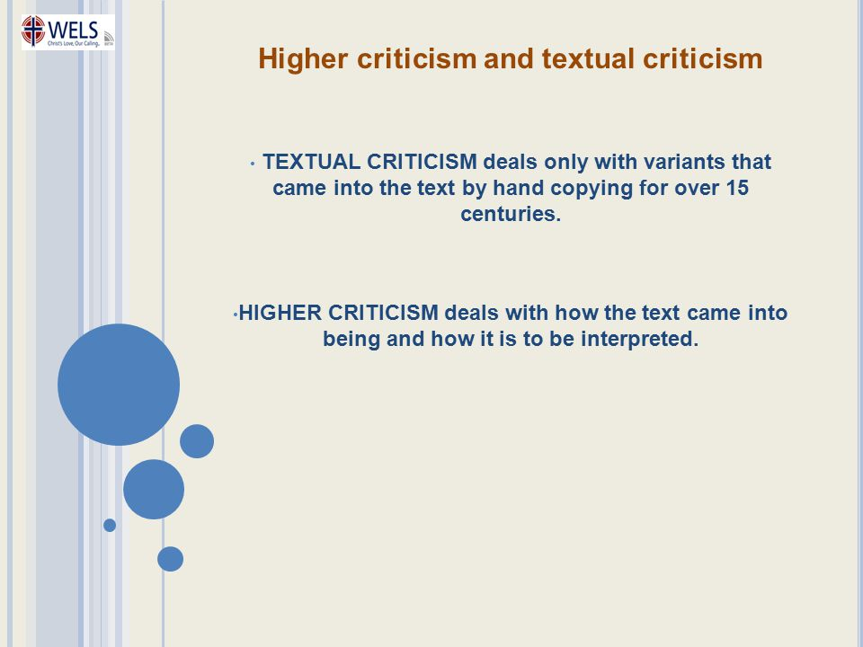 Higher criticism and textual criticism