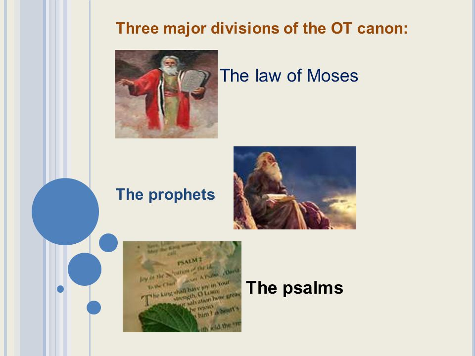 The law of Moses The psalms Three major divisions of the OT canon:
