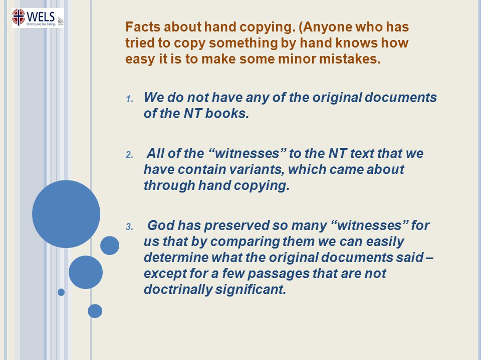 Facts about hand copying