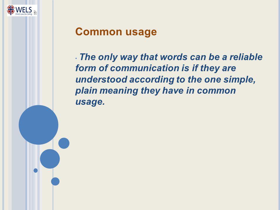 Common usage