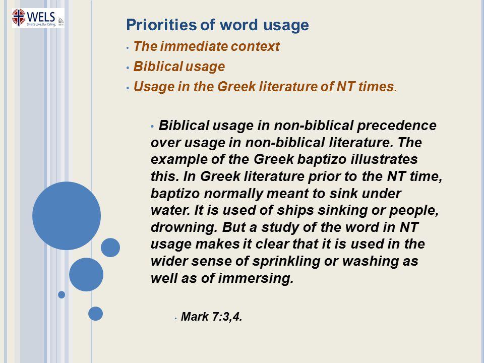Priorities of word usage