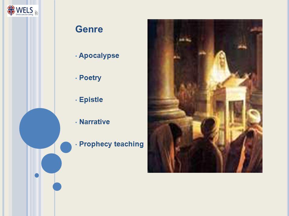 Genre Apocalypse Poetry Epistle Narrative Prophecy teaching