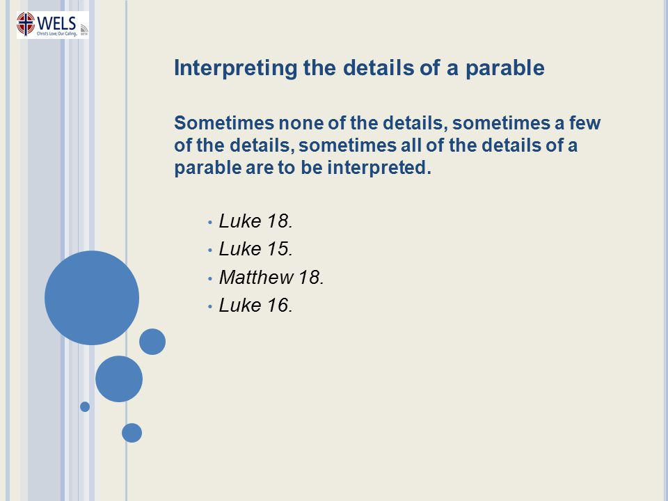 Interpreting the details of a parable