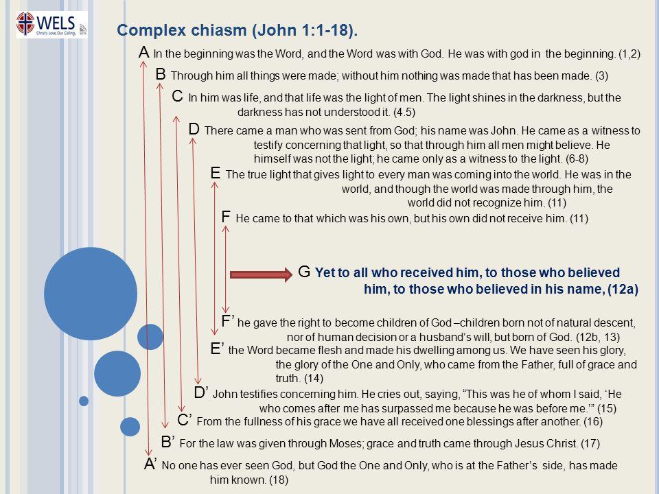 Complex chiasm (John 1:1-18).