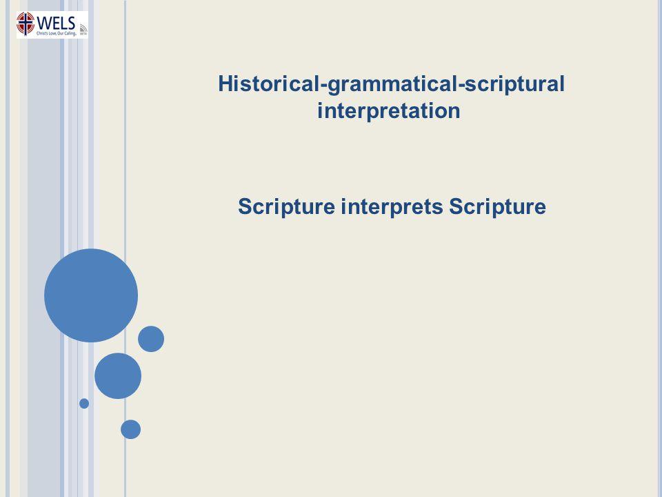 Scripture interprets Scripture