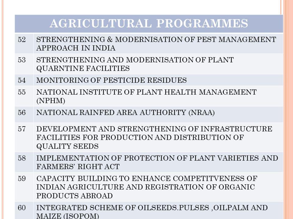 AGRICULTURAL PROGRAMMES