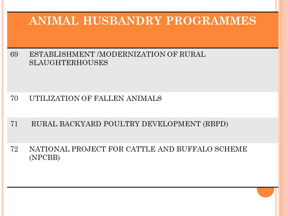 ANIMAL HUSBANDRY PROGRAMMES