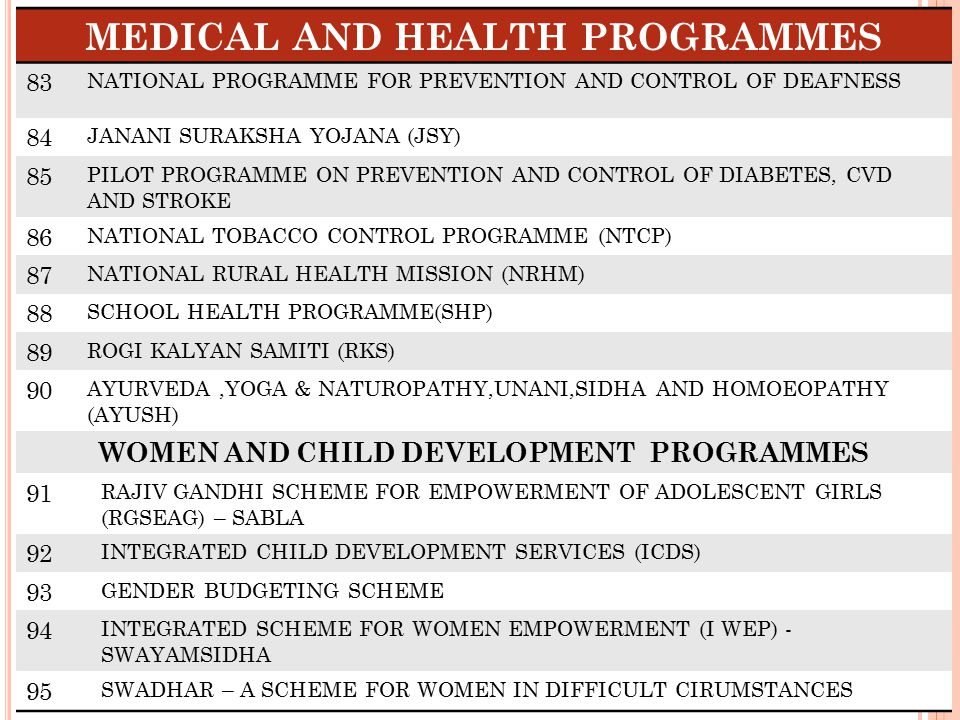 MEDICAL AND HEALTH PROGRAMMES WOMEN AND CHILD DEVELOPMENT PROGRAMMES
