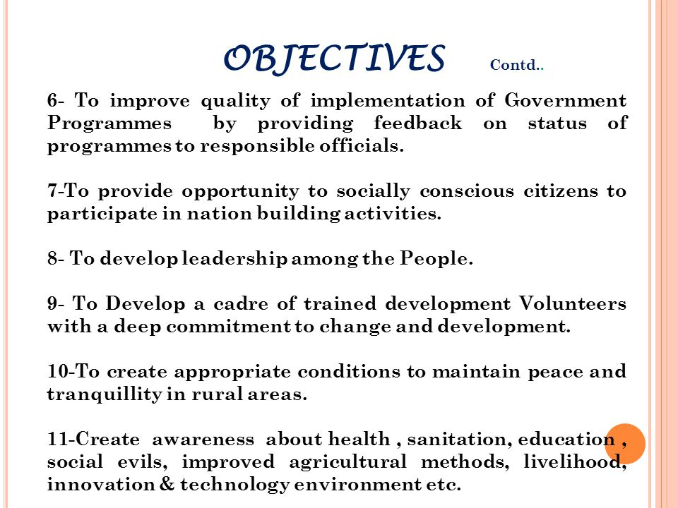 OBJECTIVES Contd..