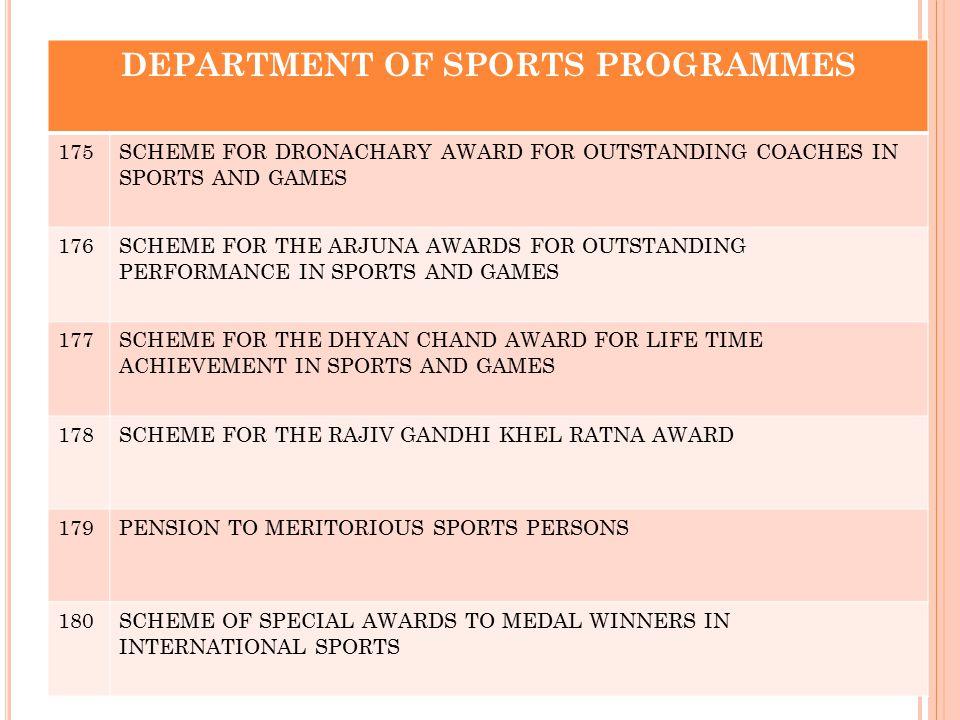 DEPARTMENT OF SPORTS PROGRAMMES