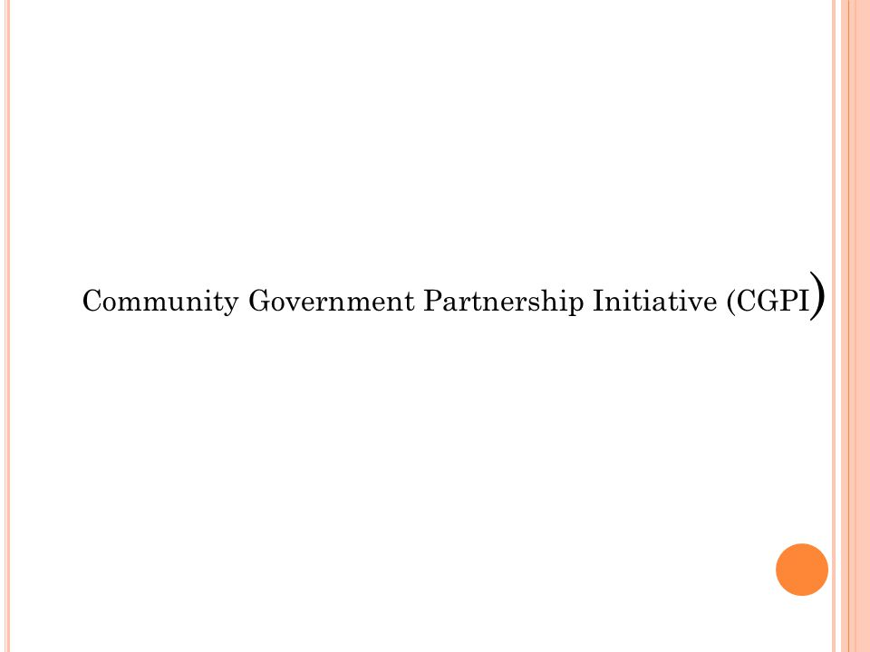 Community Government Partnership Initiative (CGPI)