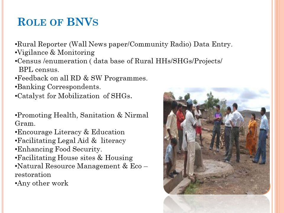 Role of BNVs Rural Reporter (Wall News paper/Community Radio) Data Entry. Vigilance & Monitoring.