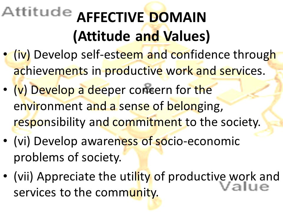 AFFECTIVE DOMAIN (Attitude and Values)