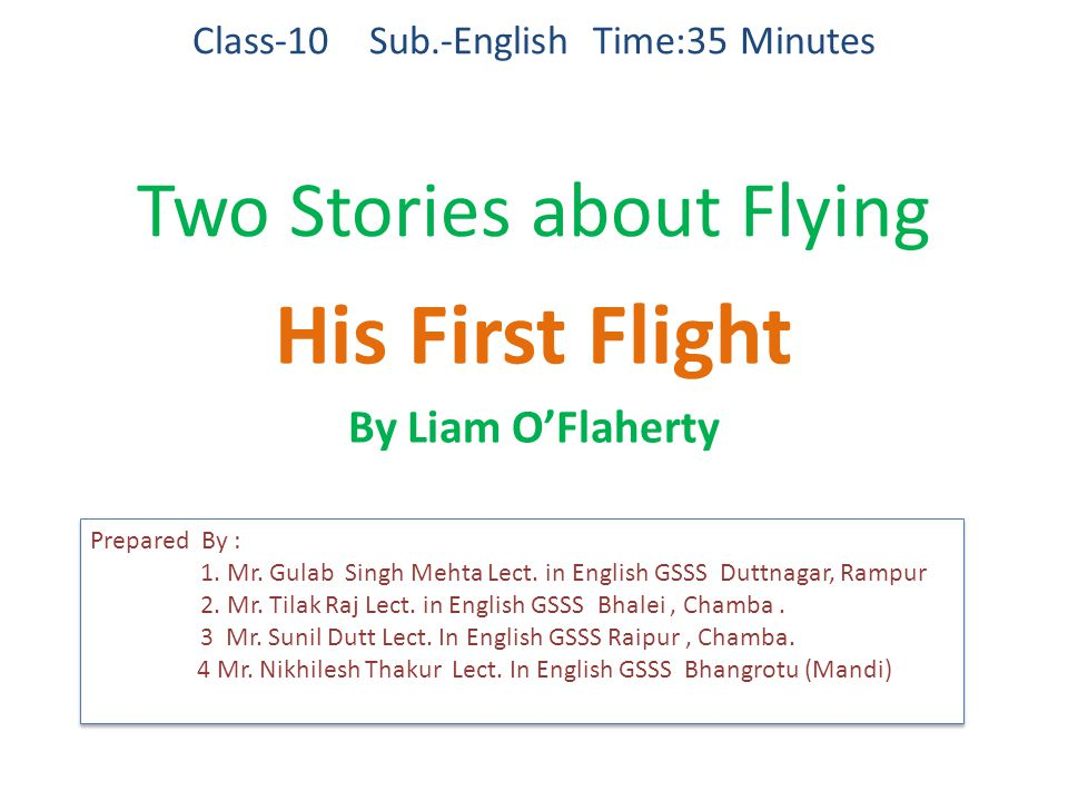 Class-10 Sub.-English Time:35 Minutes Two Stories about Flying