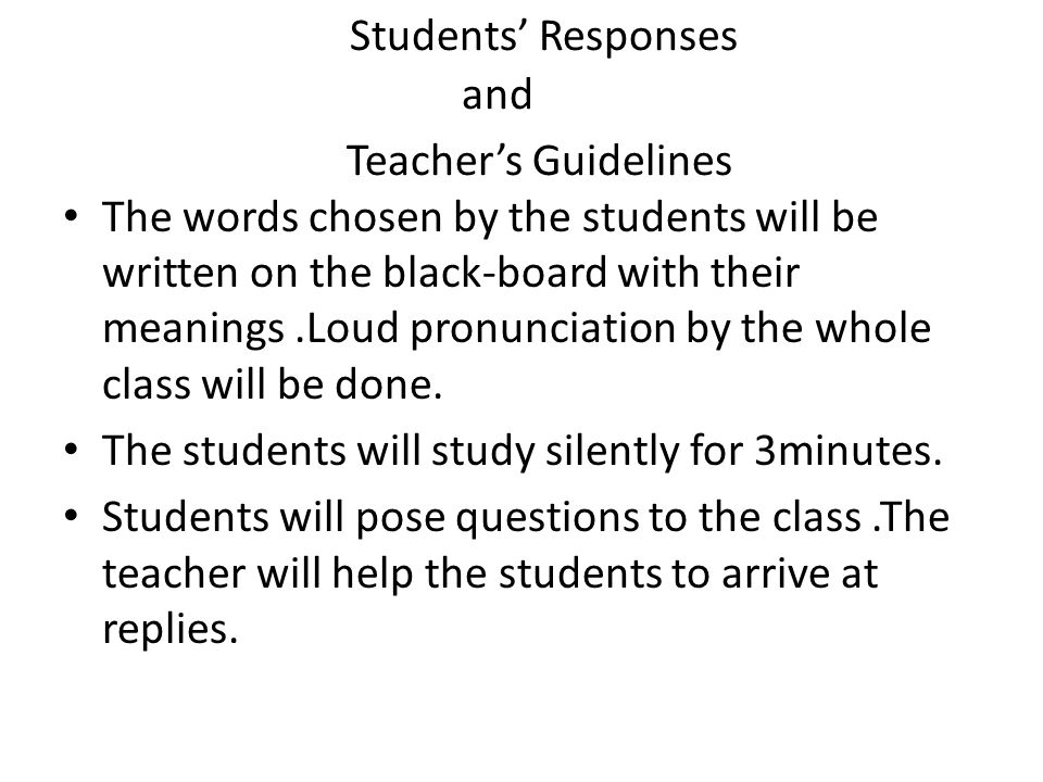 Students' Responses and Teacher's Guidelines
