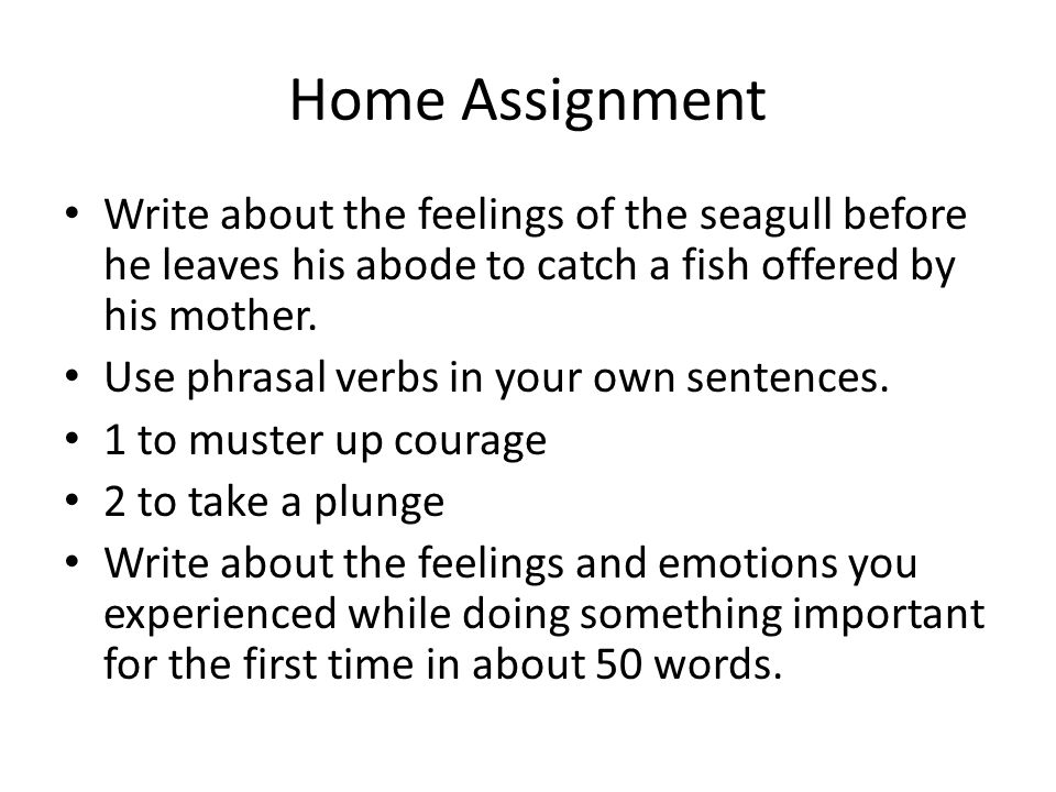 Home Assignment Write about the feelings of the seagull before he leaves his abode to catch a fish offered by his mother.