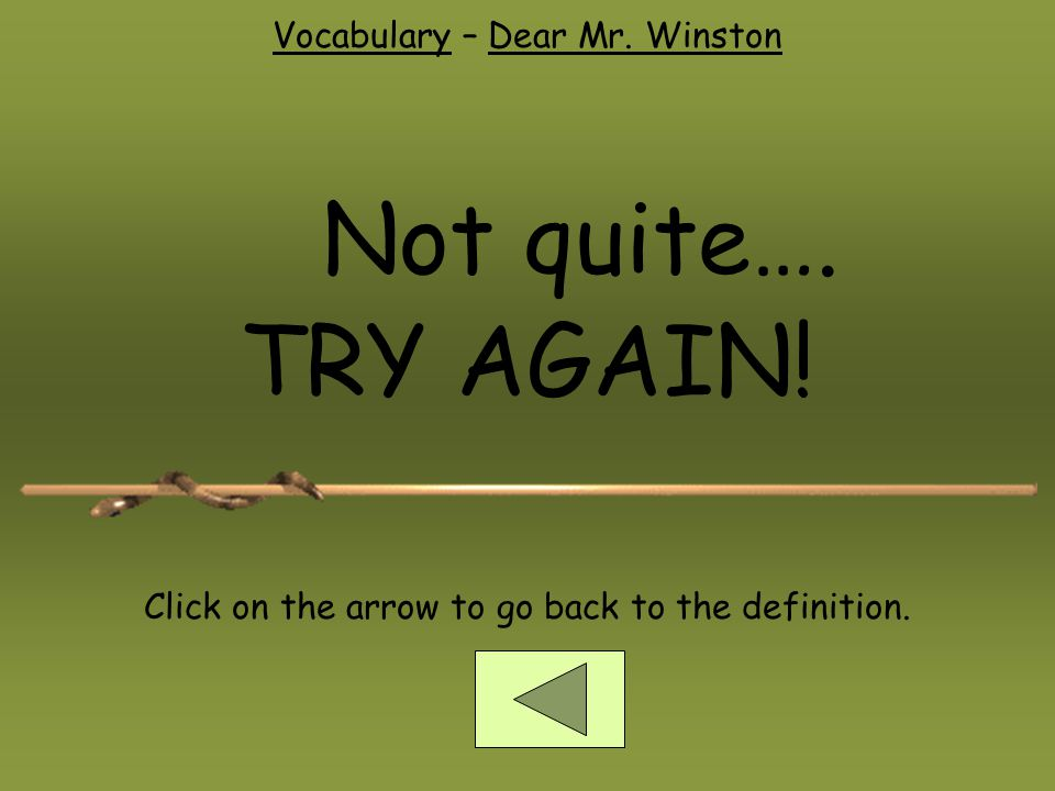 Not quite…. TRY AGAIN! Vocabulary – Dear Mr. Winston