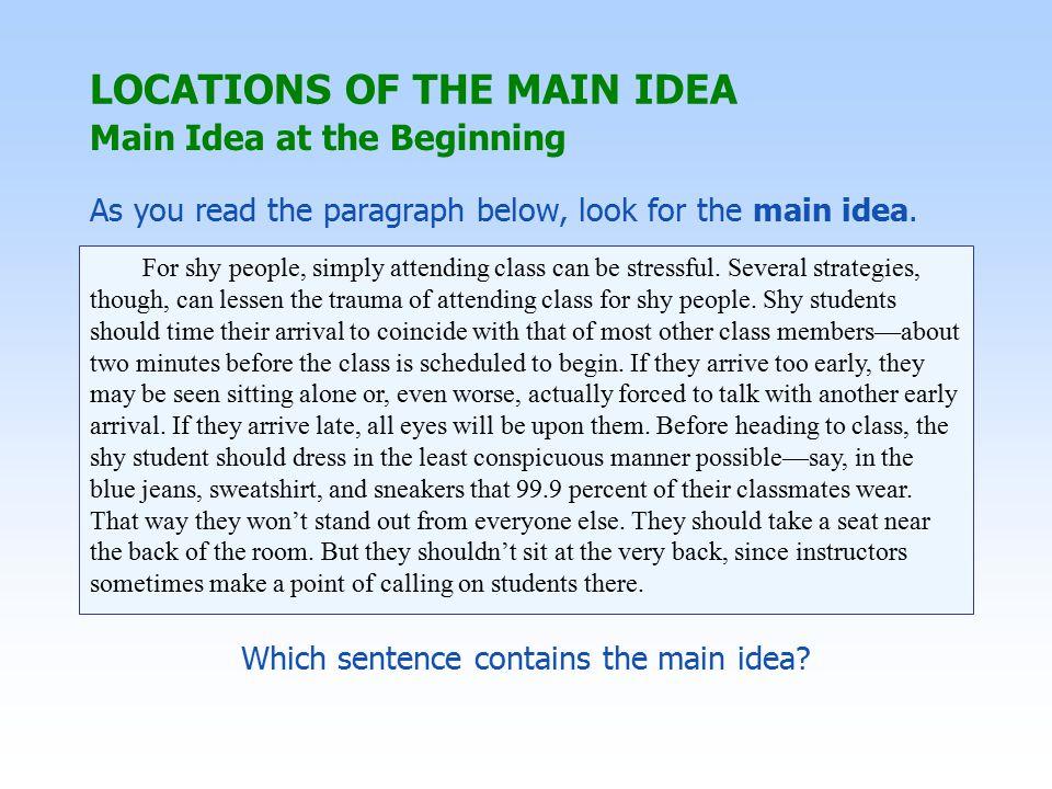 Main Idea at the Beginning