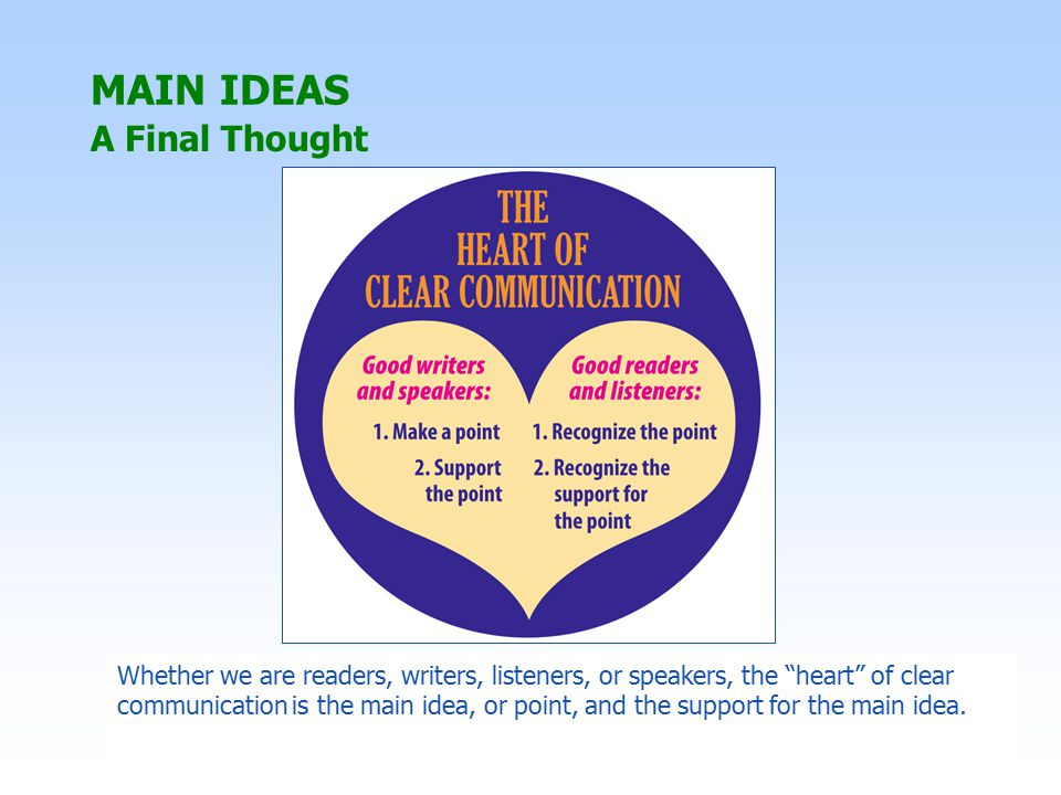 MAIN IDEAS A Final Thought