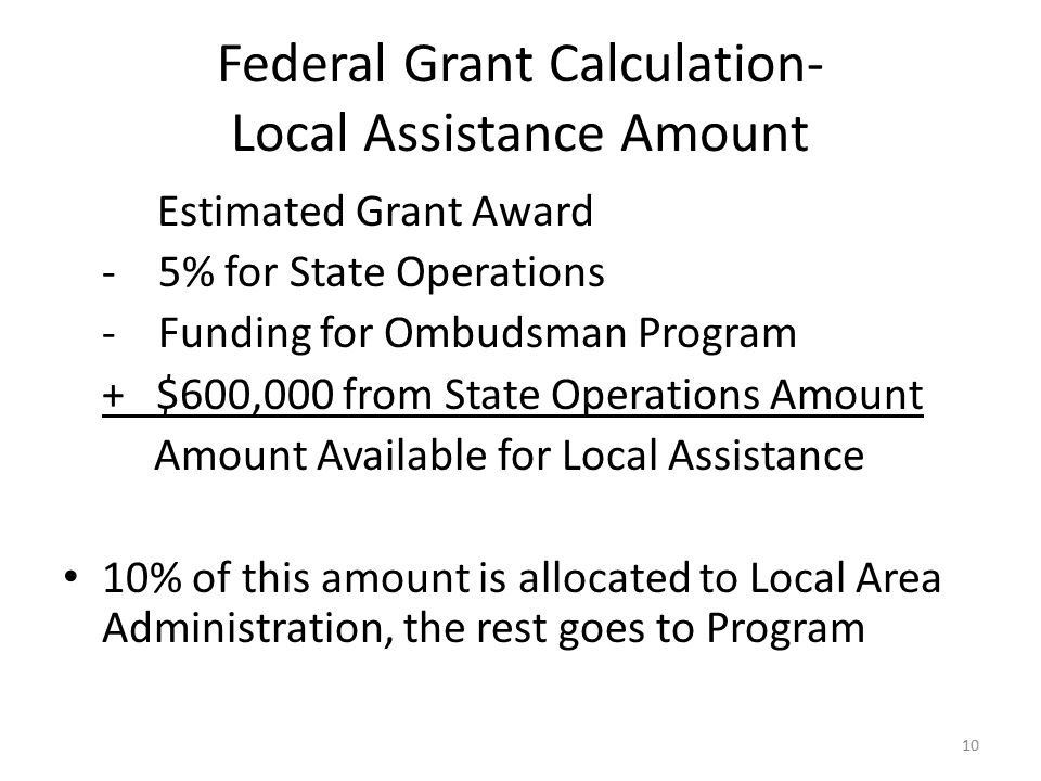 Federal Grant Calculation- Local Assistance Amount