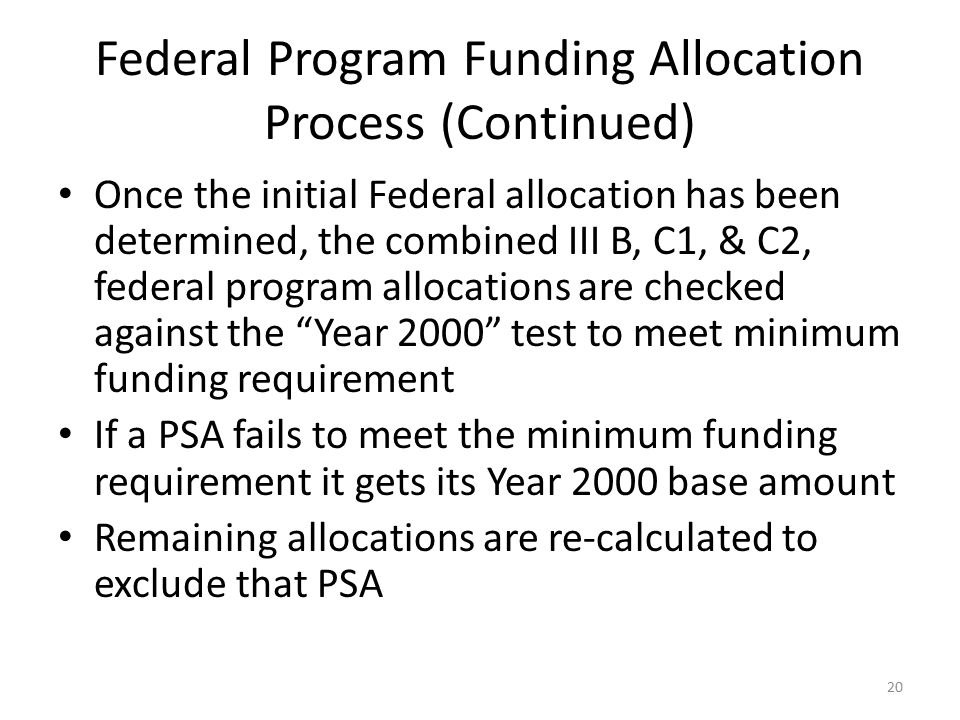 Federal Program Funding Allocation Process (Continued)