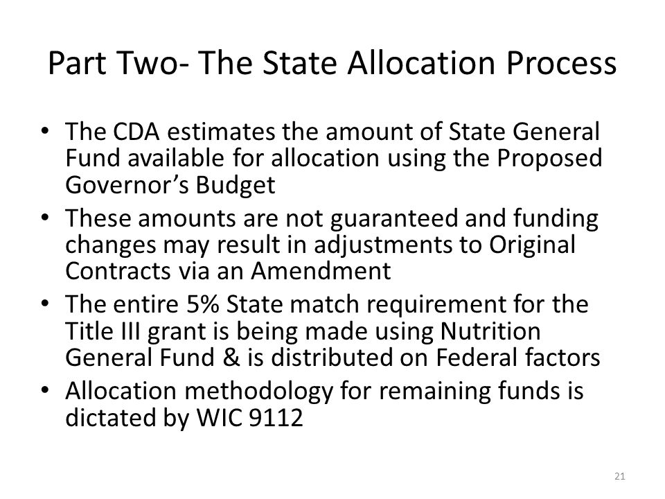 Part Two- The State Allocation Process