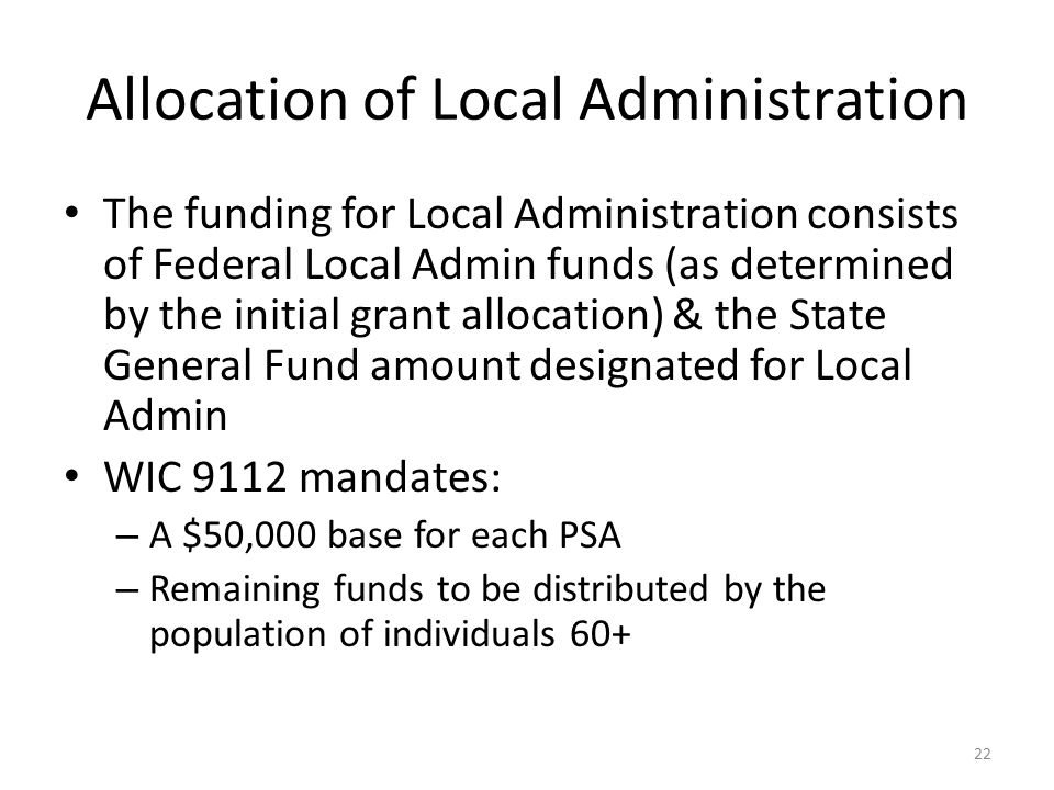 Allocation of Local Administration