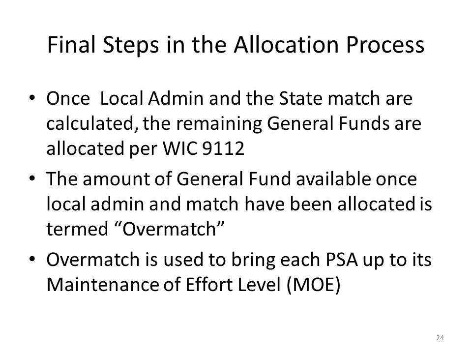Final Steps in the Allocation Process