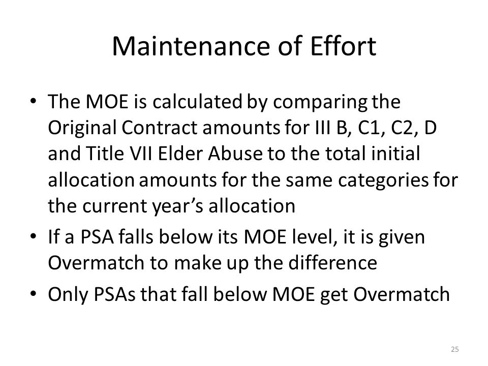 Maintenance of Effort