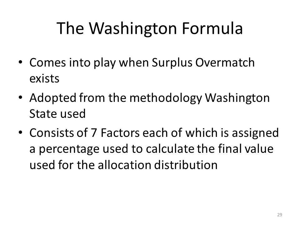 The Washington Formula