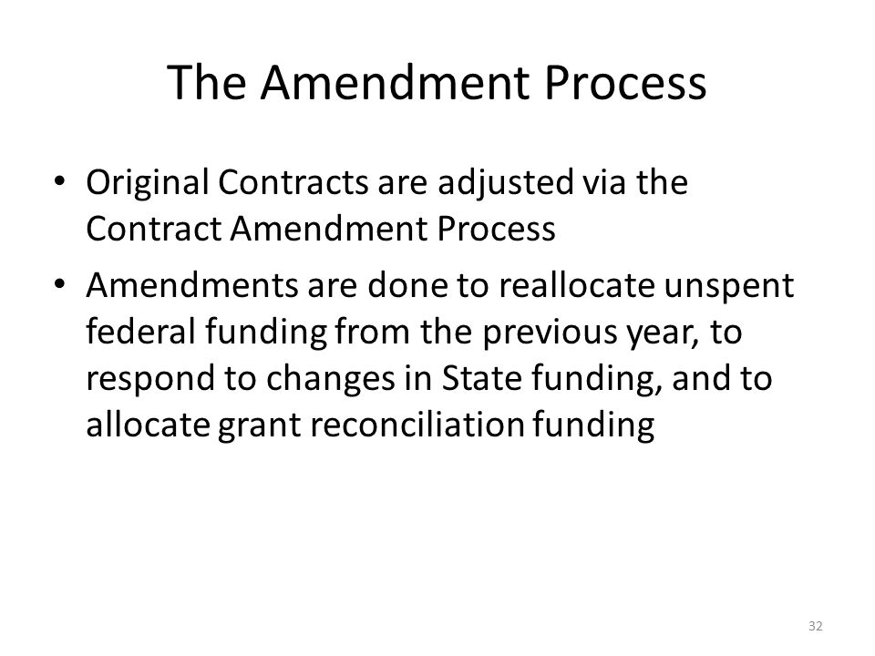 The Amendment Process Original Contracts are adjusted via the Contract Amendment Process.