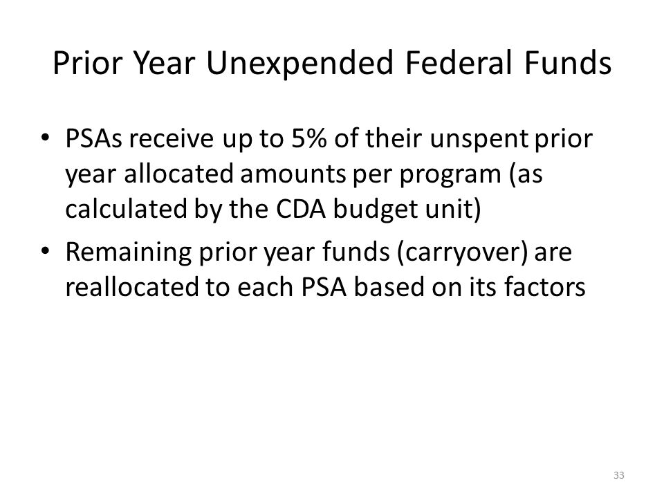 Prior Year Unexpended Federal Funds