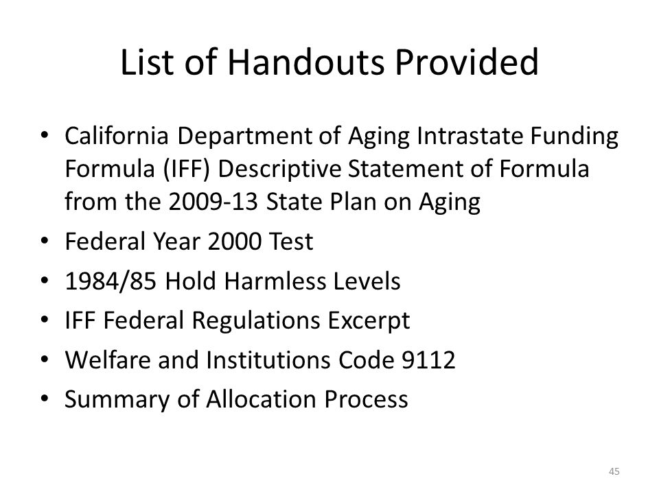 List of Handouts Provided