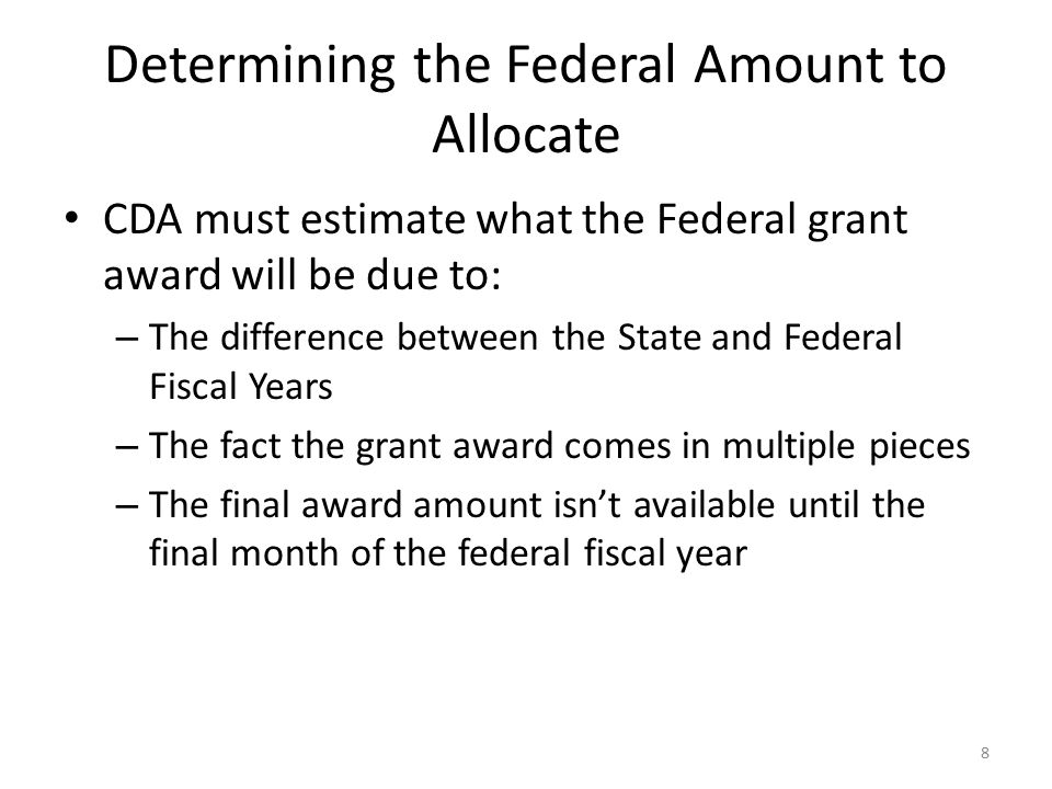 Determining the Federal Amount to Allocate