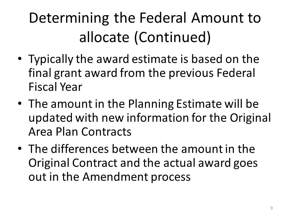Determining the Federal Amount to allocate (Continued)