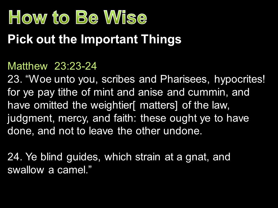 How to Be Wise Pick out the Important Things Matthew 23:23-24