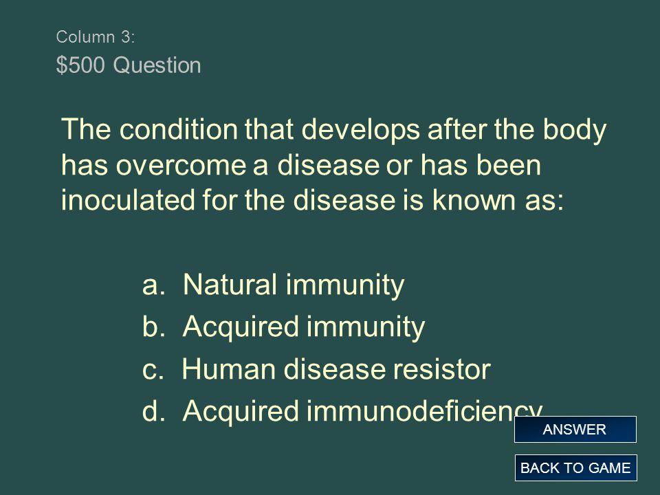 c. Human disease resistor d. Acquired immunodeficiency