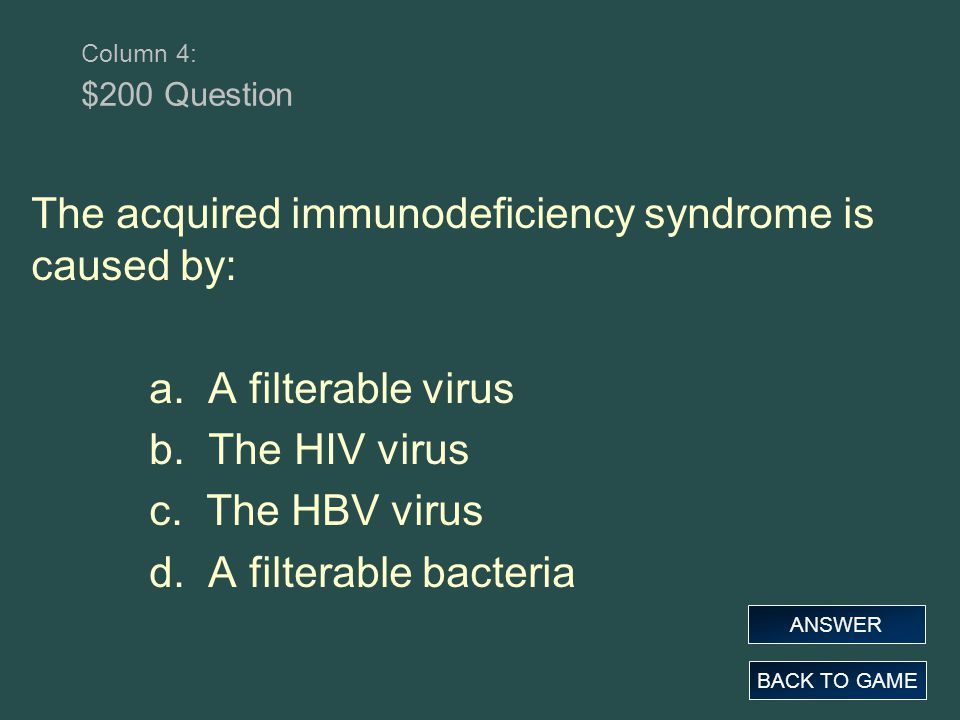 The acquired immunodeficiency syndrome is caused by: